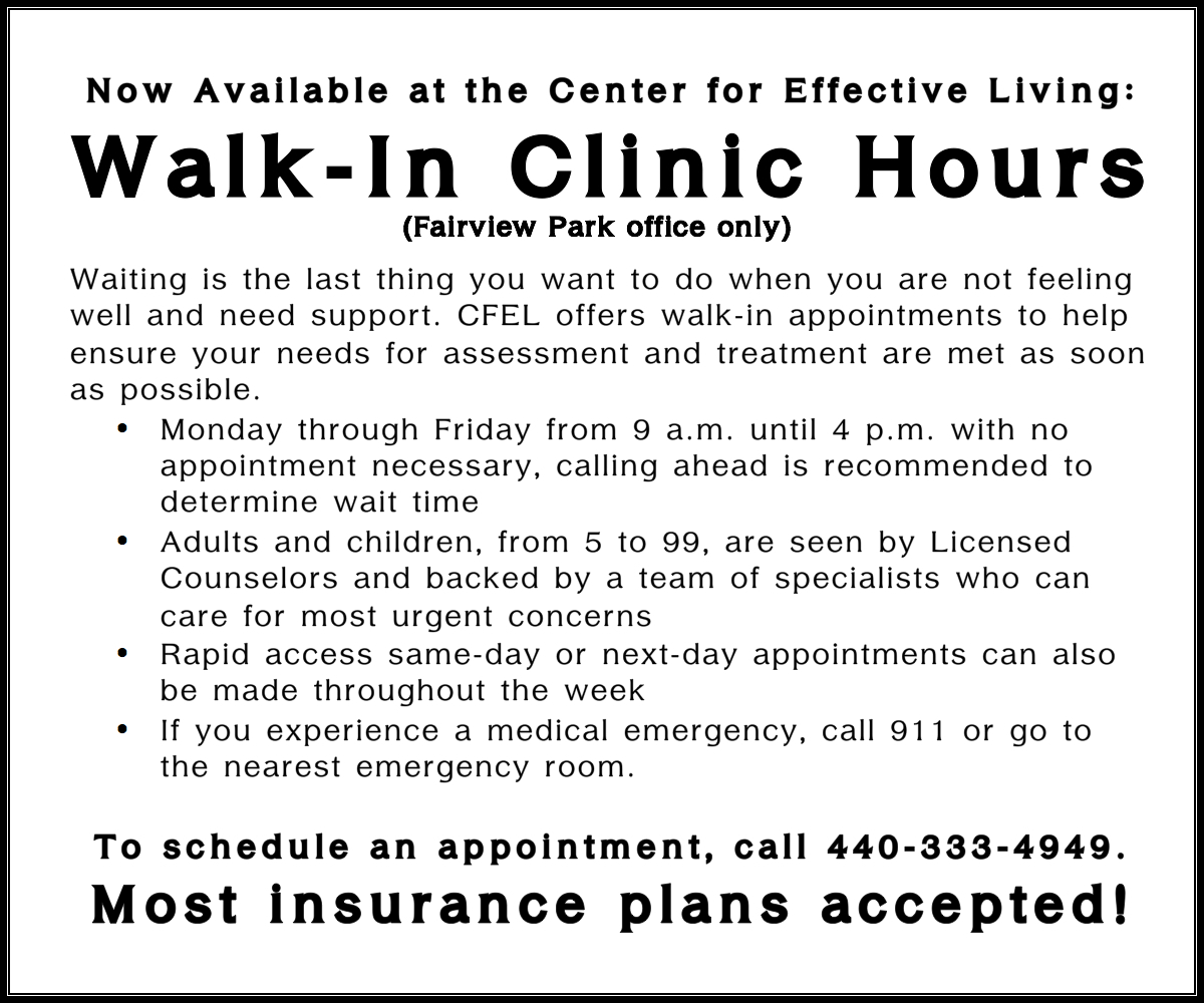 center for effective living walk-in clinic