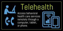 graphic that says Access behavioral health care services remotely through a computer, tablet or phone, with Center for Effective Living